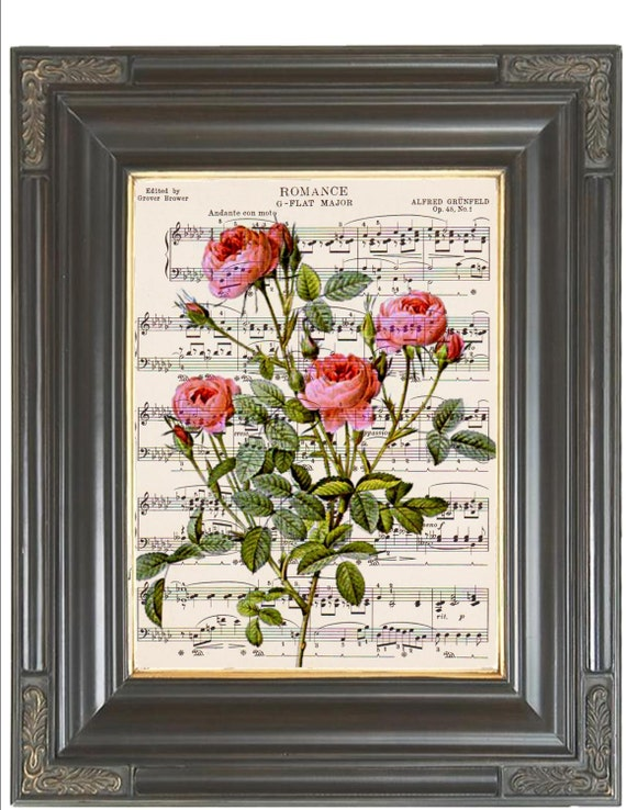 COUPON SALE French pink roses dictionary art print Wall decor Sheet music print Digital art print Flower print Home decor Item No 675