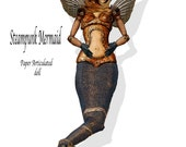 Steampunk paper Doll DIY  instant print Mermaid paper craft