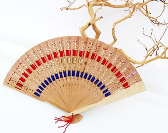 Vintage Folding Fan, Wooden Hand Fan, Monogrammed Anne, Silk Ribbon,  Red Blue - As Is