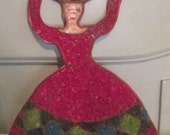 60s Mexican Folk Art / Gravel Art / Women Carrying Basket HandCrafted Wall Hanging / Rare