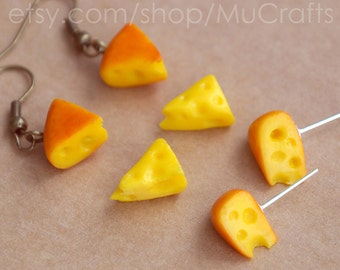 tiny CHEESE EARRINGS, dangle or post  - food miniature jewelry