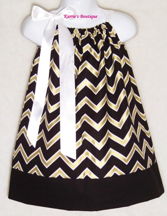 Saints Pillowcase Dress Black & Gold Fleur de lis New