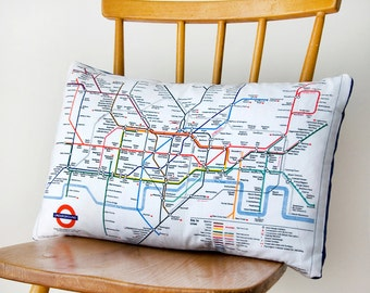 Upcycled London Underground Tube Map Cushion in Blue or Red -London throw pillow -transport cushion