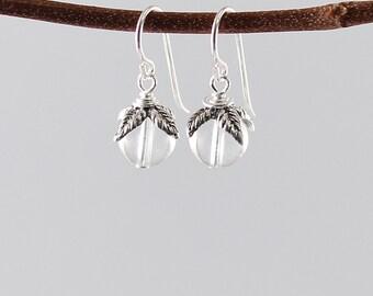 White quartz crystal earrings, sterling silver clear crystal ball earrings flowers clear quartz earrings white crystal, transparent