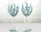 Wine Glasses, Blue Leaves Design, Wedding glasses, Toasting Glasses, Hand Painted Glasses, Set of 2, Blue Wine Glasses