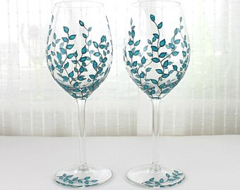 Wine Glasses, Wedding glasses,  Anniversary Glasses, Toasting Glasses, Blue Leaves Design, Hand Painted Glasses, Set of 2, Blue Wine Glasses