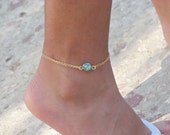 Blue Turquoise Anklet. Feminine Bead Anklet. Double Chain Gold Anklet. Ankle Bracelet. Everyday Foot Jewelry. Bridal/Bridesmaid Anklet.
