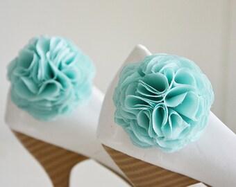 Mint Flower Shoe Clips, Aqua Shoe Clips, Bridal Flower for Shoe, Pastel Green, Bridesmaid, Shoe and Shoe Clips, Shoe Accessories, Pom pom