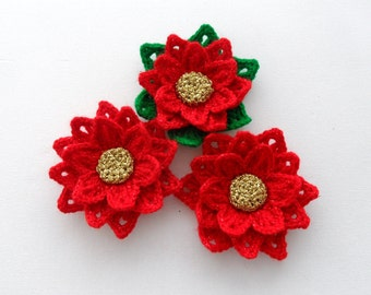 Crochet Applique - Poinsettia Flower - Christmas Flower - Made to Order