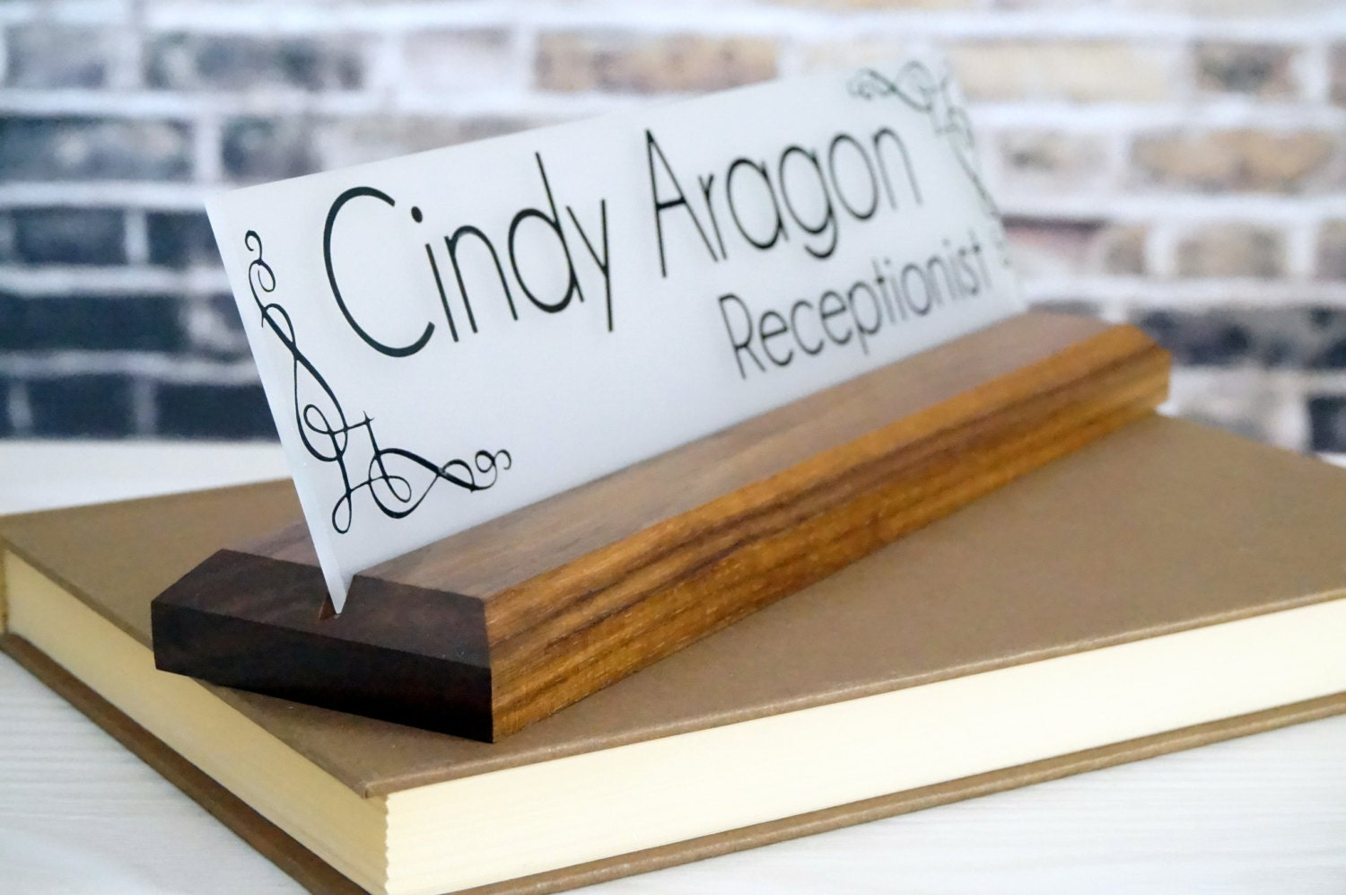 Office Name Plates: Office Decor Acrylic Desk Name Plate Made Of Wood By GaroSigns