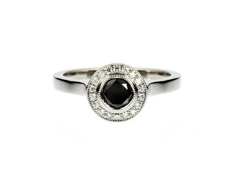 0.50ct Black diamond halo engagement ring, white gold ring, black diamond ring, diamond halo, unique, milgrain ring, gothic engagement,