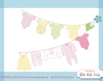 Pink Yellow Green Baby Shower PRINTABLE Girl Outfits Banner from Allie Kat Kids-Pink Animal Print-Pink Green Yellow Onesie-Green Sunhat