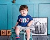 Fan Photo one lowercase with circus elephant birthday on triblend indigo for boys 1st Birthday Shirt with newborn photo