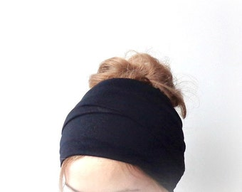black head scarf jersey head wrap xl extra long head band hair loss head cover headwrap headscarf boho hair accessory
