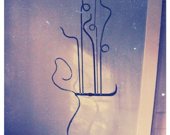 Guitar Art Sculpture - 5 String Bass Inspired by Les Claypool - Hand Forged Metal Art