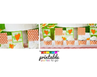 INSTANT DOWNLOAD Printable Peas and Carrots Cupcake Toppers and Wraps - Please Read Description Thoroughly Before Purchasing