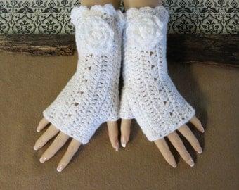 Fingerless Gloves, Crochet Arm Warmers, White Burlesque Gloves, Wool Flower, Wrist Warmers, Womens Gift, Australia, Nchanted Gifts
