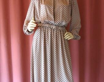 Ann Taylor secretary dress polyester copper 1970s