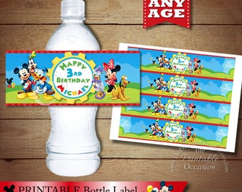 Personalized Clubhouse MICKEY MOUSE Water Bottle Label, Custom Clubhouse Minnie Mouse Bottle Wrapper, Printable Water Bottle Labels