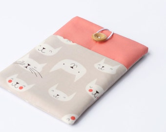 Kindle Voyage Cover, Cute Cats Kindle Paperwhite Sleeve Case with Pocket - Salmon Pink and Grey Ereader Case for Fire HDX 7