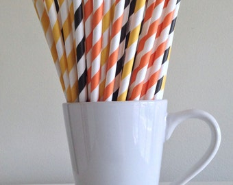 Orange, Yellow and Black Striped Paper Straws Construction Party Supplies Party Decor Bar Cart Cake Pop Sticks  Party Graduation