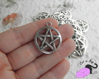4 Charms with Magic Pentagram - antique silver tone - SP39-22