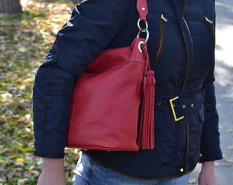 SOFT LEATHER HANDBAG, Red Leather Shoulder Bag, Red Leather Purse, Leather Hobo Bag, Leather Slouchy Bag, Everyday Leather Bag