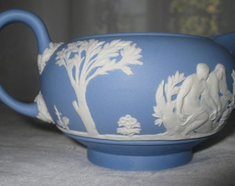 Vintage Wedgewood Pitcher, Pale Blue, Jasperware, Handled Creamer Pitcher, Neo Classical Design, Signed