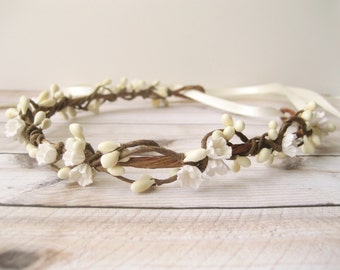 Rustic wedding flower crown, Ivory floral crown, Flower headpiece, Floral headband, Hair wreath, Woodland crown - WILLOW