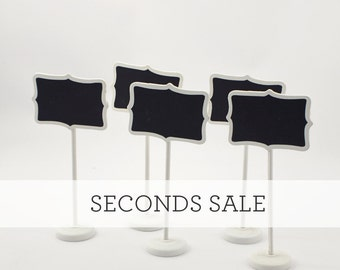 SECONDS SALE - Set of 5  - White Mini Chalkboard Stands - Shabby Chic - Table Numbers - Name Tags - Wedding Signage  Buffet Props