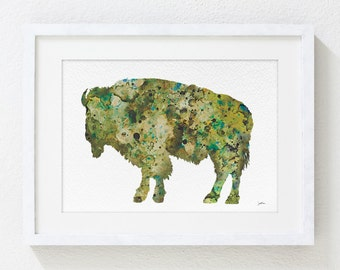 5x7 Bison Archival Print - Animal Art Watercolor Painting - Moss Green and Brown Bison Wall Decor Kitchen Decor Home Decor Reproduction Art