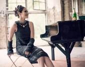 audrey hepburn dress - little black dress  - charcoal dress - unique dress - crochet for sale - sale