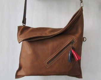 Crossbody bag, Leather cross body purse, Brown leather bag, Foldover, Everyday bag