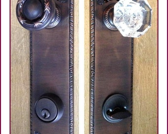 CRYSTAL DOOR KNOB Estate Entrance Set Original 1800s Handmade Exceptional Replications - Oil Rubbed Bronze. Custom Made for your door.