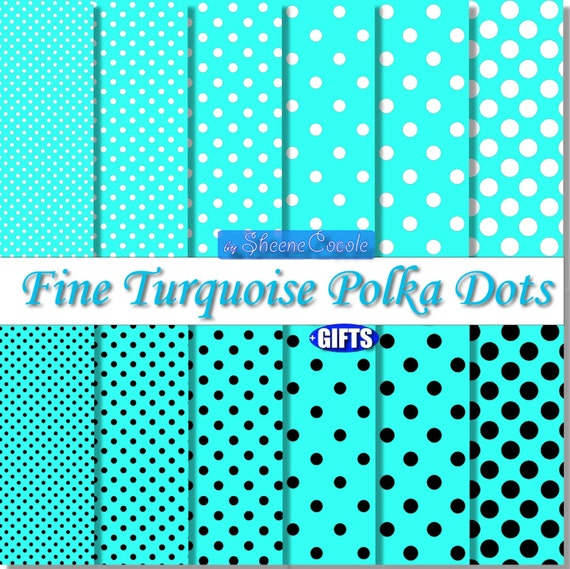 Light Blue Polka Dot Blue Digital Paper scrapbook background clipart Caribbean blue Turquoise polka dot fabric print Light blue baby party