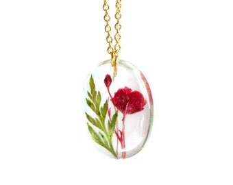 Real flower necklace resin jewelry real flower in resin pressed flower, homemade gift, flower gift, handmade gift, gift for her, unique gift