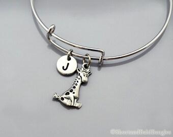 Cute Giraffe bangle, Giraffe bracelet, Baby Giraffe, Expandable bangle, Personalized bracelet, Charm bangle, Monogram, Initial bracelet