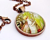 whimsical fairy necklace flower fairies fairy art pendant woodland jewelry 1 inch glass dome pendant necklace