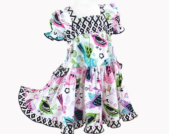 Colorful Birds Modern Girl Clothes Geometric Girls Dress Pink Purple Teal Cotton Party Dress Boutique Girl's Clothing Size 2 3 4 5 6 7 8 10