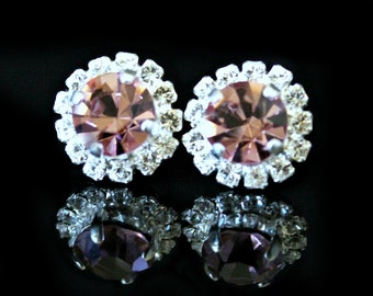 Vintage Pink Swarovski Crystals Framed with Halo Crystals on Silver Post Earrings, Silver Halo Stud Earrings