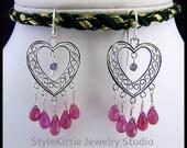 Pink Sapphire Earring, Purple Iolite, Filigree Heart, Dangle Earrings, 925 Sterling Silver, Briolette, Chandelier, Faceted Gemstone, Jewelry