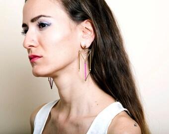 Large Statement Earrings, Long Brass Earrings, Minimal Himmeli Line Earrings