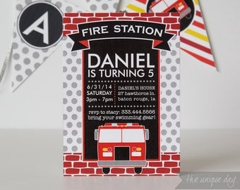 Firetruck Invitation - Printable - Printed Invitations - Firetruck birthday party - Boy Birthday - Thank you card // FIR- 01