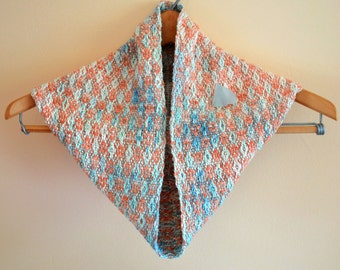 Woven Cowl Scarf, Infinity Scarf, Peach Scarf, Circle Scarf, Hand Dyed, Hand Painted Rayon Silk, Gifts For Mom, Peach and Teal