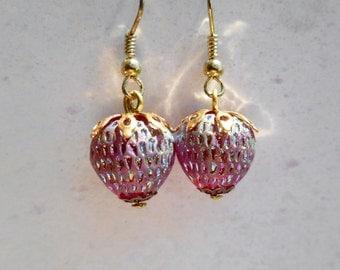 Strawberry earrings, West Germany, vintage glass