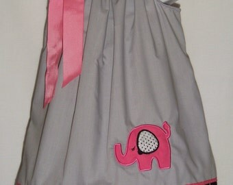 Elephant Pillowcase Dress / Pink / Silver Sequins / Bling / Gray/ Black/ Infant / Baby / Toddler / Girl / Birthday/ Custom Boutique Clothing