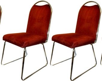 Vintage Baughman Style Mid Century Modern Chrome & Velvet Side Dining Chairs (Set of 4)