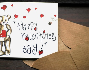 Valentines Day Greetings Card - Bee Mine? - Teddy Bear Illustration From the Heart
