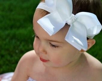 White Headband - White Bow Headband - Baby Bow Headband