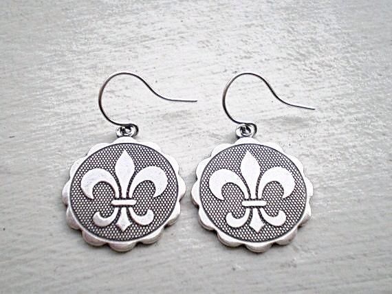 Fleur De Lis Earrings/Coin Earrings/Fleur De Lis/Fleur De Lis Jewelry/French Earrings